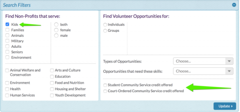 How to search for community service volunteer opportunities.